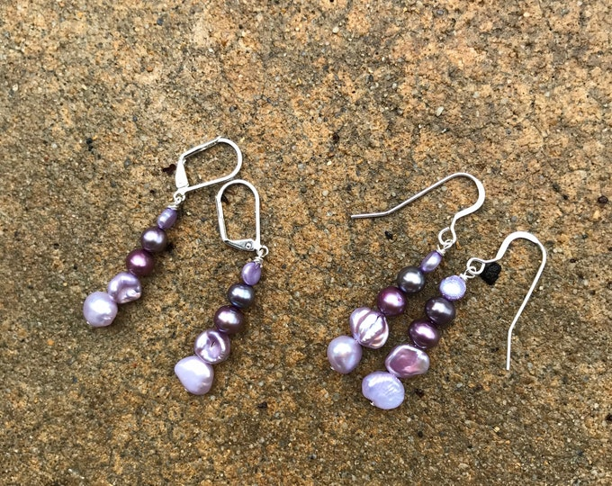 Purple Pearl earrings-  /bridesmaids jewelry/ pearl jewelry /classic pearls/ sterling silver / bridal jewelry