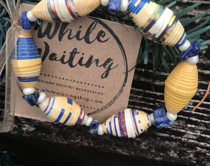 Boho stretch bracelet- multicolored/ recycled/ Haitian paperbeads / blue/yellow/white