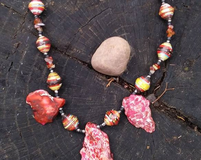 Red Rock statement necklace- paperbeads-