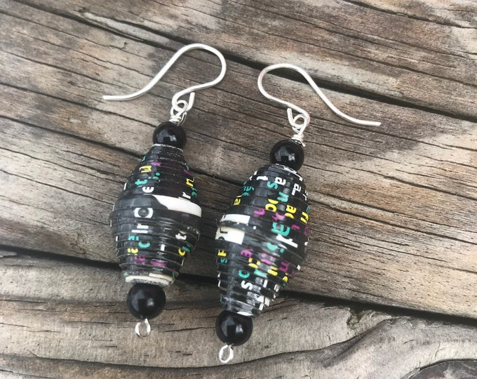 Black, multi colored and silver paper bead earrings, handmade red Earrings, sterling silver and paper, eco-friendly earrings