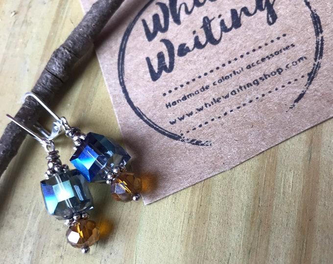 Geometric cube statement earrings / glass silver blue earrings / champagne glass statement earrings