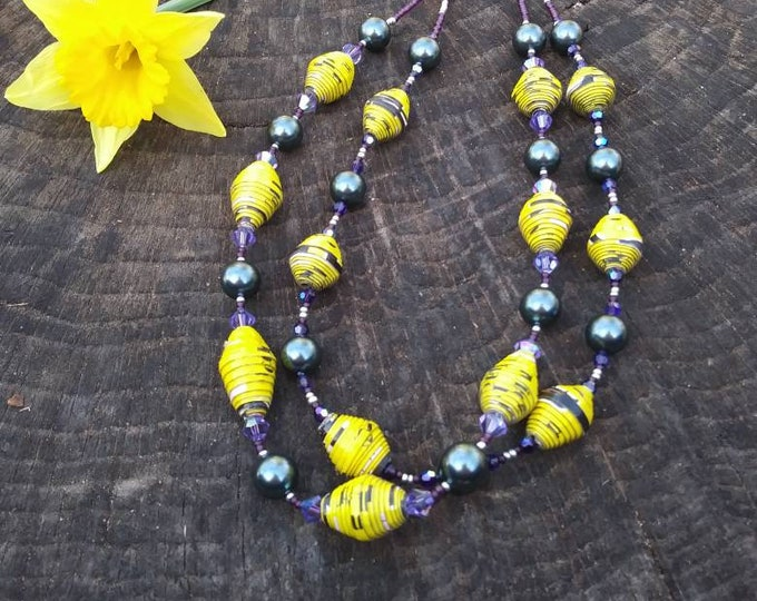 2 strand pearl necklace/ Yellow, purple and blue necklace/ paper and pearl necklace