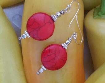 Red stone earrings/ sterling silver/ silver earrings