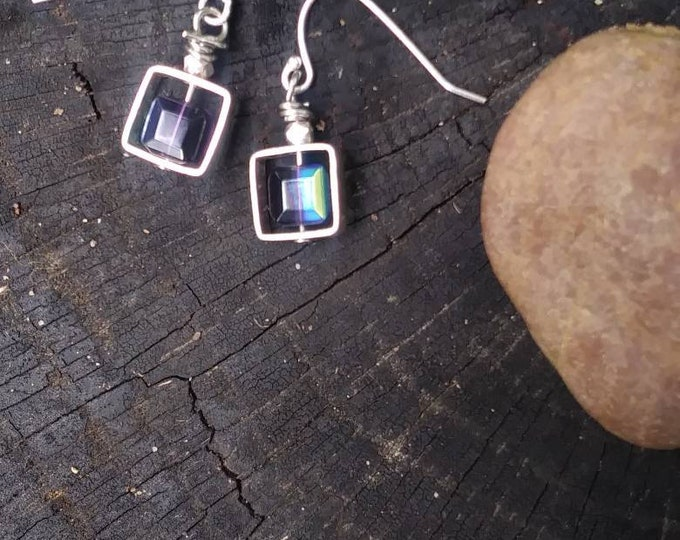 Square iridescent earrings/ small sterling silver earrings/ Czech glass bead/ minimalistic earrings