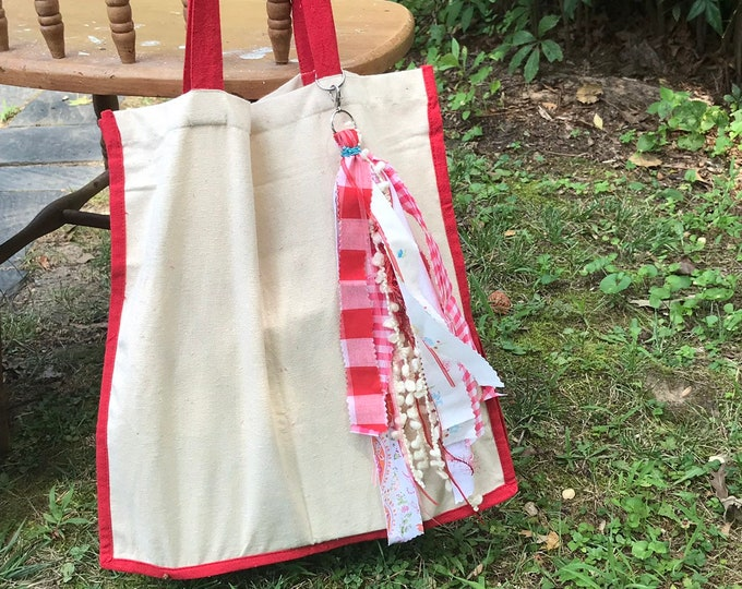 Canvas tassel tote bag/ boho market bag/ tassel tote- red eco friendly tote