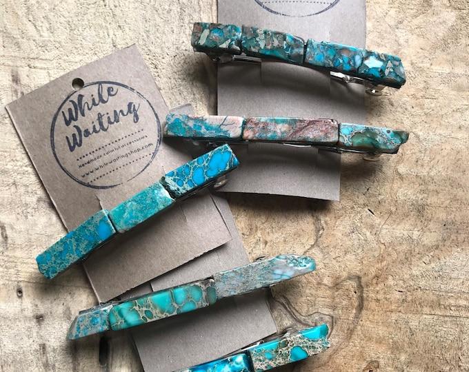 Wholesale  set of 5 large turquoise stone hair barrettes 4 inch/ aqua hair barrette / hair accessory raw stone hair clip/ hair barrettes
