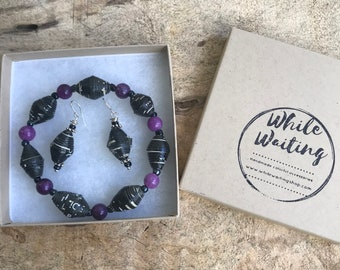 Black and purple paper bead bracelet and earrings set/ handmade bracelet set/ eco- friendly gift set