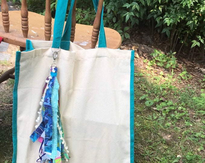 Canvas tassel tote bag/ boho market bag/ tassel tote- turquoise eco friendly tote