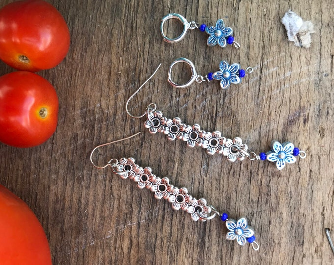 Mom & Me earrings / floral matching earrings / silver earrings/ cascading floral earrings