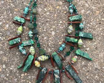 Green statement paperbead multi strand necklace/ eco friendly tribal jewelry paperbead necklace/ chartreuse chunky stone necklace