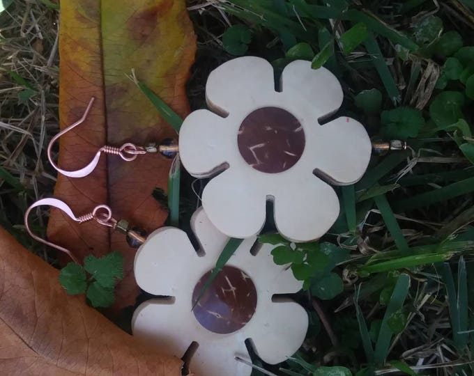 Floral earrings /Wooden earrings/ flower earrings/ wood flower earrings/ natural flower earrings /statement earrings/ copper earrings