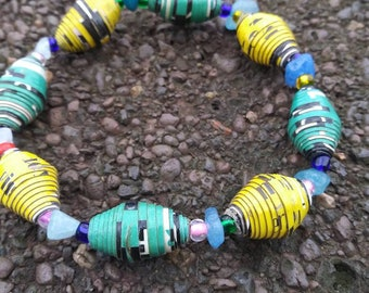 Paperbead stretch bracelet- multicolored/ recycled/ Haitian paperbeads/ boho yellow and green