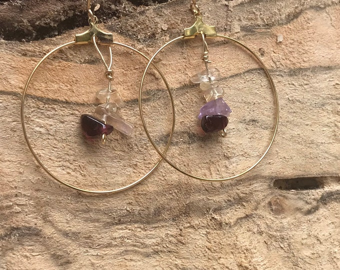 Gold hoop earrings / garnet amethyst citrine stone earrings / dangle hoop earrings / geometric minimalist druzy statement earrings