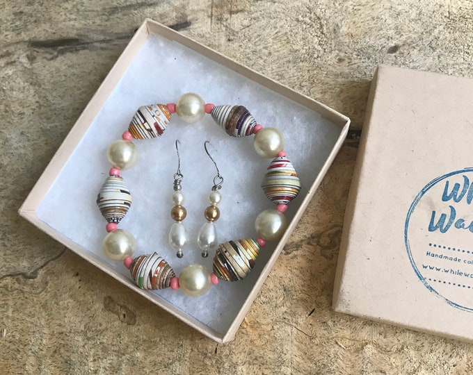 Vintage Pearl and white paper bead bracelet and earrings set/ handmade bracelet set/ eco- friendly gift set