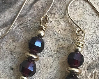 Garnet gold filled earrings/ small garnet earrings/ small red stone earrings/ gold filled earrings/ January birthstone