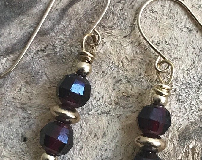 Garnet gold filled earrings/ small garnet earrings/ small red stone earrings/ gold filled earrings/ January birthstone