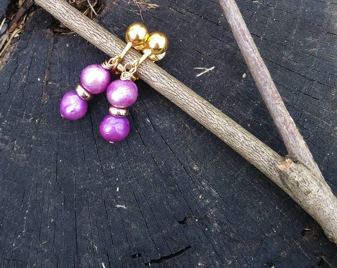 Ultraviolet freshwater pearl clip- on earrings / purple pearls