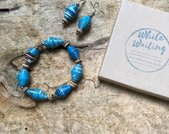 Turquoise paper bead bracelet and earrings set/ handmade bracelet set/ eco- friendly gift set