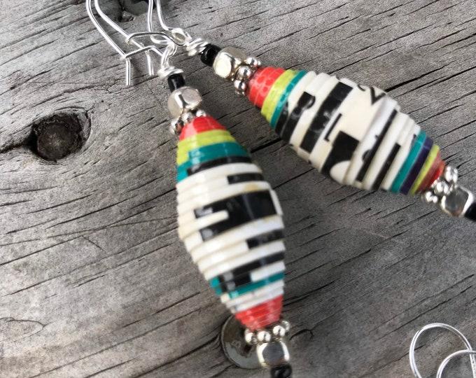 Sterling silver black & white paperbead earrings / multicolored earrings ecofriendly jewelry