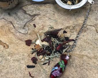 Fancy Floral Tea infuser/ red hand painted flowers tea infuser/ pretty tea strainer / loose leaf tea strainer/ loose leaf tea infuser