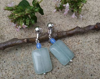 Clip-on earrings- pale green glass  silverplated clips- light blue glass