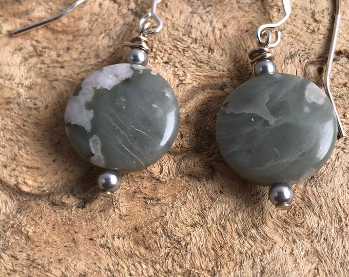 Gray stone earrings/ sterling silver/ silver earrings
