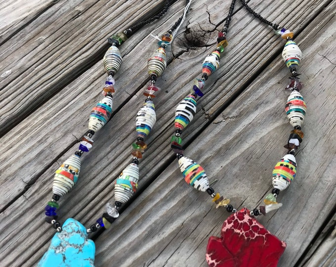 Turquoise /red Rock statement necklace- paperbead necklace / pendant statement necklace