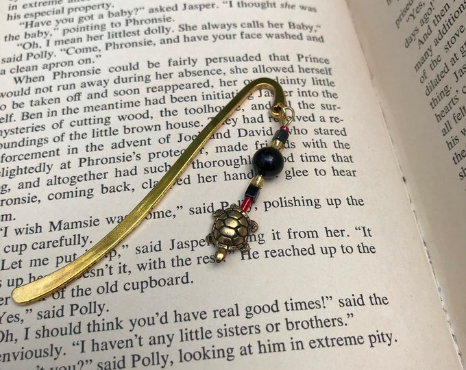Maryland terrapin turtle charm bookmark/ brass turtle charm bookmark / Maryland gifts for readers