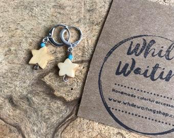 star yellow bone and turquoise mini hoop earrings/ star earrings/ bone earrings