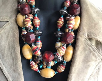 Western statement necklace/ multi strand/ eco friendly necklace/ paperbead necklace/ red statement necklace chunky tribal stone