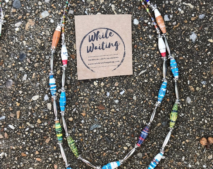 Silver necklace -Multi strand beaded statement necklace/ pearls/ paperbead Necklace multi colored silver