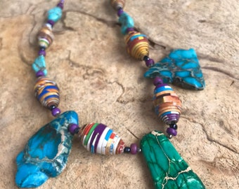 turquoise Rock statement necklace- paperbeads-