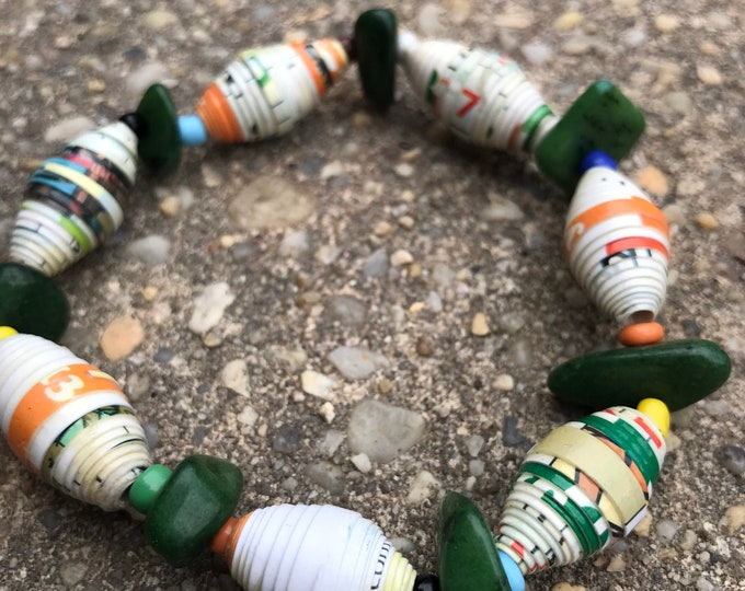 Forest green Paperbead stretch bracelet- multicolored/ recycled/ Haitian paperbeads/ boho green white and orange