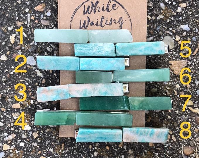 Amazonite aqua Stone hair clip/ aventurine green hair clip/ turquoise hair clip/ hair accessory/ raw stone hair clip/ boho clip/ tie clip
