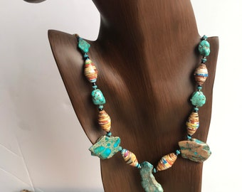 turquoise Rock statement necklace- paperbead necklace