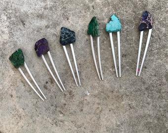 Purple Stone hair fork/ blue green hair fork / druzy hair fork/ turquoise hair accessory / raw stone hair fork/ boho hair clip/ hair fork