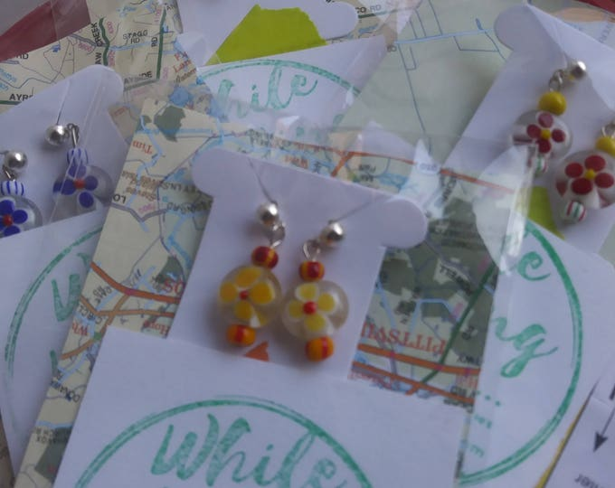 Girls earrings/ petite post/ glass flower bead