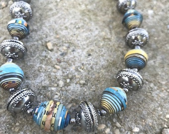 Silver and turquoise paperbead necklace /western turquoise necklace / paper bead necklace /