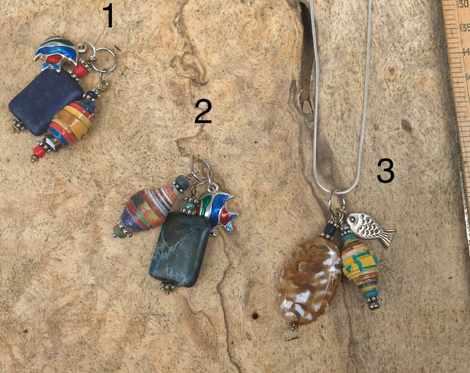 Sterling Silver fish charm cluster necklace/ handmade paperbead/ sterling silver/ jasper stone/ paperbead necklace