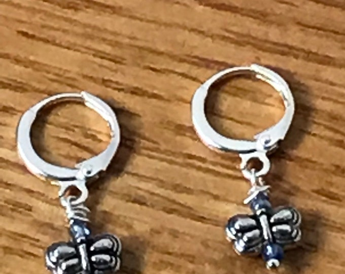 Small butterfly hoop earrings / silver hoop earrings / silver butterfly earrings