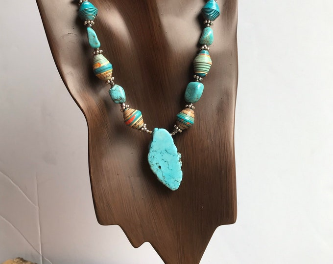 turquoise Rock statement necklace- paperbead turquoise pendant necklace
