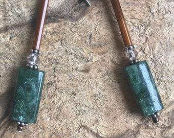 Dark Ruby Green Zoisite earrings / green and brown earrings / elegant long earrings