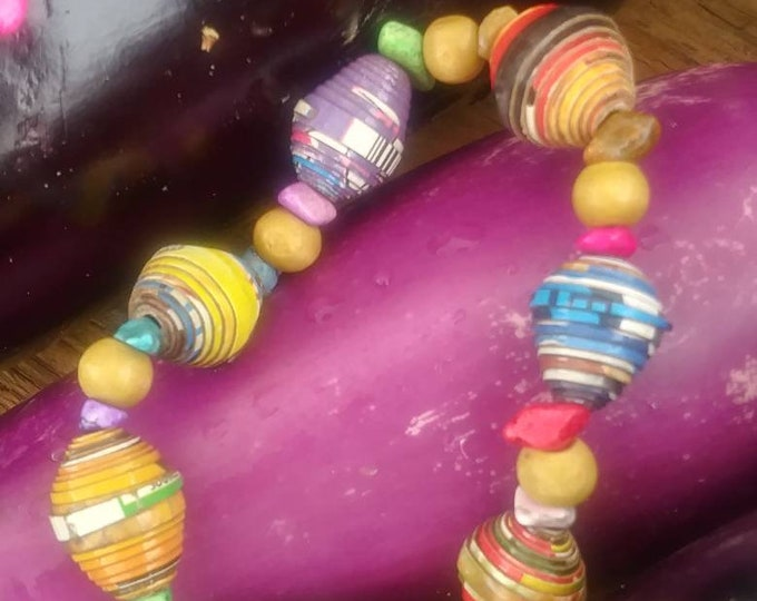 Boho stretch bracelet- multicolored/ recycled/ Haitian paperbeads
