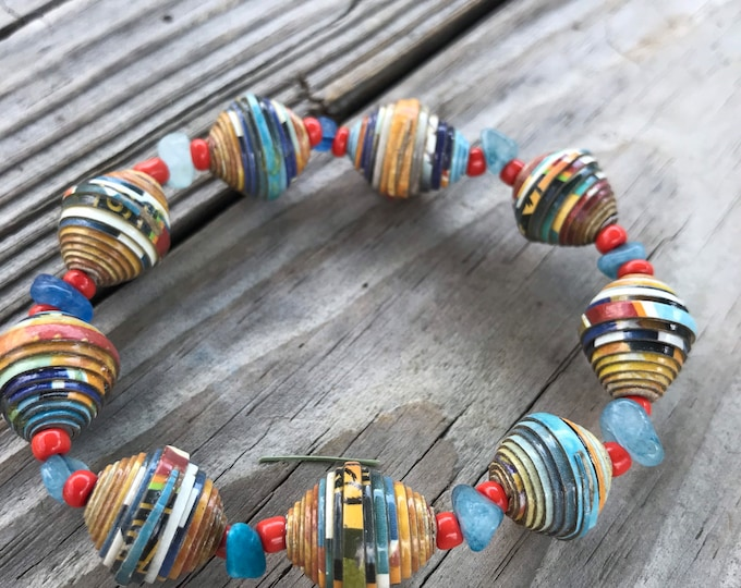 Orange and blue Paperbead stretch bracelet- / recycled/ Haitian paperbeads/ boho paper and stone bracelet