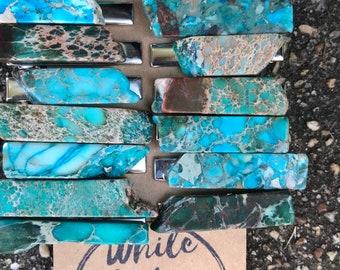 Turquoise blue Stone hair clip 1.5 in/ aqua green hair clip/ druzy hair clip/ hair accessory / raw stone hair clip/ boho hair clip/ tie clip