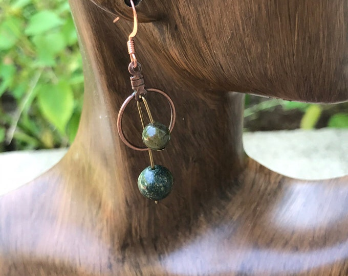 Copper hoop earrings / green stone earrings / dangle hoop earrings / geometric minimalist statement earrings