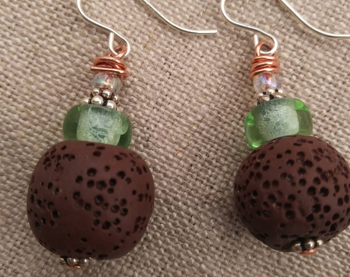 Diffuser earrings/ brown lava stone earrings/ green diffuser earrings/ copper & silver earrings/ brown diffuser earrings