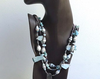 Statement stone and paper necklace/ amazonite necklace/ raw chunky stone necklace/ multi strand necklace blush annd pale aqua