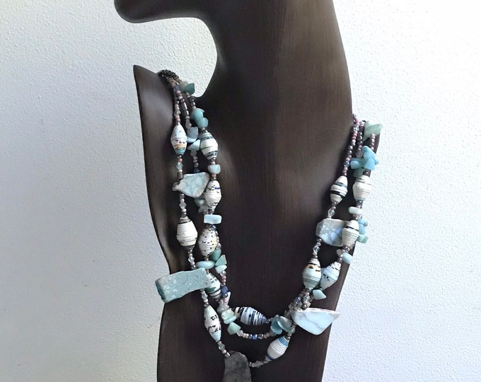 Statement stone and paper necklace/ amazonite necklace/ raw stone necklace/ multi strand necklace blush annd pale aqua