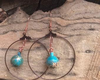 Copper hoop earrings / turquoise stone earrings / dangle hoop earrings / geometric minimalist statement earrings